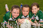 FUN TIME: Emer Kelly, Jacqueline Horgan and Aisling Foran  from St. Senans and Finuge enjoying  the Kerry GAA VHI Cul Camp in Mountcoal on Thursday last...