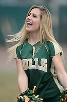South Florida Bulls Diamond Doll performing during a game against the Florida State Seminoles on March 5, 2014 at Red McEwen Field in Tampa, Florida.  Florida State defeated South Florida 4-1.  (Mike Janes/Four Seam Images)