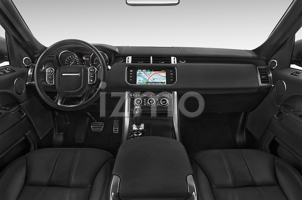 Stock photo of straight dashboard view of a 2015 Land Rover RANGE ROVER SPORT HSE Dynamic 5 Door SUV Dashboard