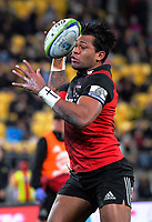 Seta Tamanivalu collects a pass on his way to thr tryline during the Super Rugby match between the Hurricanes and Crusaders at Westpac Stadium in Wellington, New Zealand on Saturday, 15 July 2017. Photo: Dave Lintott / lintottphoto.co.nz