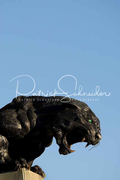 A Carolina Panthers statue outside of the stadium during an NFL football game at Bank of America Stadium in Charlotte, NC.