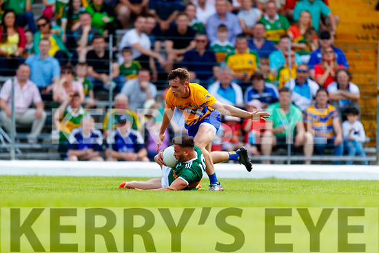 Micheál Burns Kerry in action against Eoghan Collins Clare during the Munster GAA Football Senior Championship semi-final match between Kerry and Clare at Fitzgerald Stadium in Killarney on Sunday.