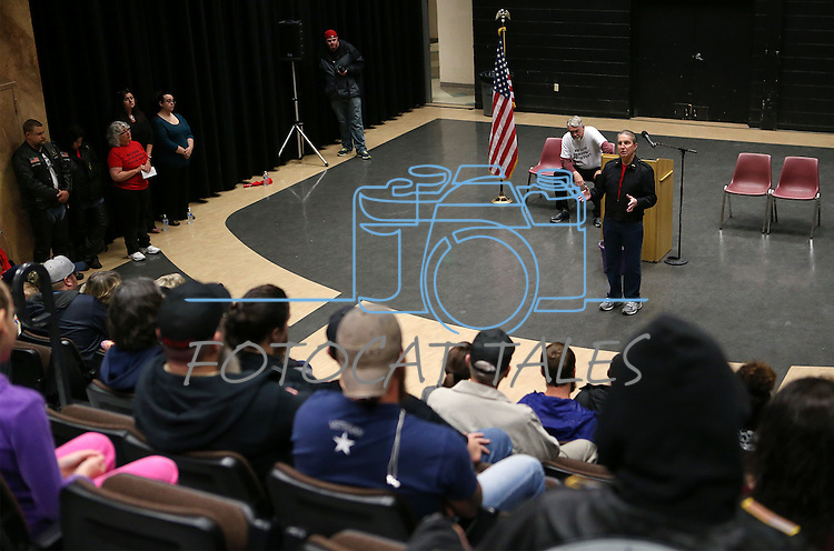 Carson City Mayor Bob Crowell speaks at the Western Nevada College second annual Suicide Awareness March in Carson City, Nev. on Saturday, May 7, 2016. The event raises awareness about the average 22 veteran suicides each day in the U.S. and the local services available to help. <br />Photo by Cathleen Allison/Nevada Photo Source