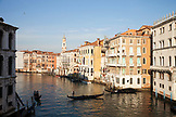 ITALY, Venice. View of the Grand Canal and homes from the Rialto Bridge.