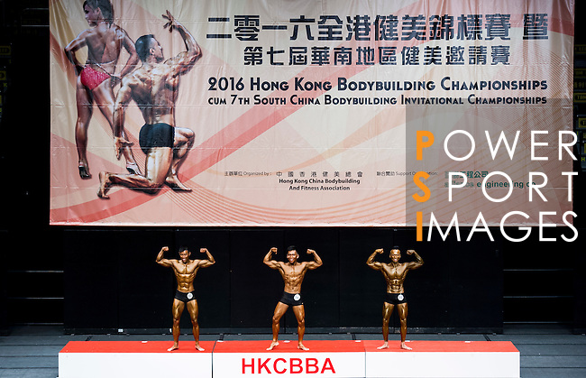 A bodybuilder competes in the Men's Athletic Physique below 170cm + 3kg category during the 2016 Hong Kong Bodybuilding Championships on 12 June 2016 at Queen Elizabeth Stadium, Hong Kong, China. Photo by Lucas Schifres / Power Sport Images