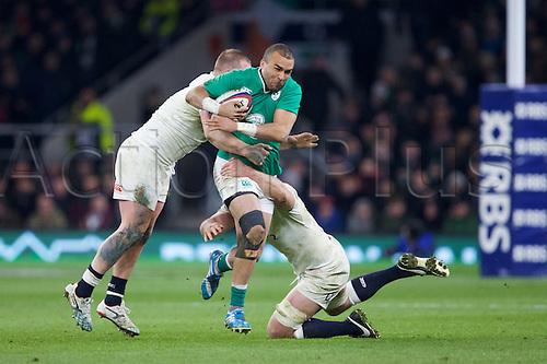 27.02.2016. Twickenham, London, England. RBS Six Nations Championships. England versus Ireland. Ireland hooker Richard Strauss is tackled.