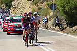 The breakaway featuring Jetse Bol (NED), Polka Dot Jersey Angel Madrazo Ruiz (Spa) Burgos-BH and Jose Herrada (ESP) Cofidis on Puerto de Alcublas 2nd Cat climb during Stage 5 of La Vuelta 2019 running 170.7km from L'Eliana to Observatorio Astrofisico de Javalambre, Spain. 28th August 2019.<br />