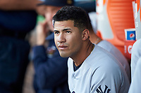 Scranton/Wilkes-Barre RailRiders third baseman Gleyber Torres (7) prior to the game against the Charlotte Knights at BB&T BallPark on April 12, 2018 in Charlotte, North Carolina.  The RailRiders defeated the Knights 11-1.  (Brian Westerholt/Four Seam Images)