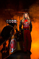 Jan 11, 2017; Brownsburg, IN, USA; NHRA top fuel driver Leah Pritchett poses for a portrait during a photo shoot at Don Schumacher Racing. Mandatory Credit: Mark J. Rebilas-USA TODAY Sports
