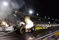 Oct. 26, 2012; Las Vegas, NV, USA: NHRA top fuel dragster driver Morgan Lucas during qualifying for the Big O Tires Nationals at The Strip in Las Vegas. Mandatory Credit: Mark J. Rebilas-