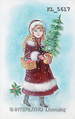 Interlitho, CHRISTMAS SANTA, SNOWMAN, nostalgic, paintings, girl, tree, basket(KL5617,#X#) Weihnachten, nostalgisch, Navidad, nostálgico, illustrations, pinturas