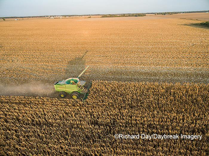 63801-08414 Corn Harvest, John Deere combine harvesting corn - aerial Marion Co. IL