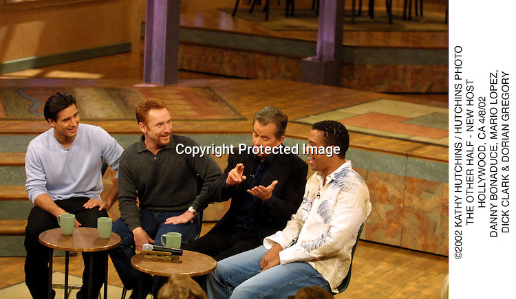 ©2002 KATHY HUTCHINS / HUTCHINS PHOTO.THE OTHER HALF - NEW HOST.HOLLYWOOD, CA 4/8/02.DANNY BONADUCE, MARIO LOPEZ, .DICK CLARK & DORIAN GREGORY