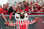 Wisconsin Badgers mascot Bucky Badger poses with fans after an NCAA college football game against the Austin Peay Governors on September 25, 2010 at Camp Randall Stadium in Madison, Wisconsin. The Badgers beat the Governors 70-3. (Photo by David Stluka)