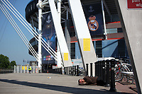 Pictured: Pictured: A homeless man sleeps on the ground outside the National Stadium of Wales (aka Principality Stadium) Thursday 25 May 2017<br /> Re: Preparations for the UEFA Champions League final, between Real Madrid and Juventus in Cardiff, Wales, UK. Thursday 25 May 2017<br /> Re: Preparations for the UEFA Champions League final, between Real Madrid and Juventus in Cardiff, Wales, UK.
