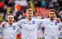 ?Nottingham Forest's defender Joe Worrall (6) for England U21's  with ?Norwich City's forward James Maddison (10) for England U21's  and Everton's forward Dominic Calvert-Lewin (9) for England U21's during the International Euro U21 Qualification match between England U21 and Ukraine U21 at Bramall Lane, Sheffield, England on 27 March 2018. Photo by Stephen Buckley / PRiME Media Images.