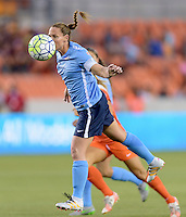 Houston, TX - Friday April 29, 2016: Christine Rampone (3) of Sky Blue FC heads the ball away from her goal against the Houston Dash at BBVA Compass Stadium. The Houston Dash tied Sky Blue FC 0-0.