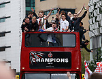 Billy Sharp of Sheffield Utd holds onto the trophy during the open top bus parade from Bramall Lane Stadium to Sheffield Town Hall, Sheffield. Picture date: May 2nd 2017. Pic credit should read: Simon Bellis/Sportimage