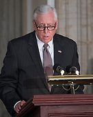 United States House Minority Whip Steny Hoyer (Democrat of Maryland) makes remarks at a Congressional Gold Medal ceremony honoring former US Senator Bob Dole (Republican of Kansas) that was also attended by US President Donald J. Trump in the Rotunda of the US Capitol on Wednesday, January 17, 2017.  Congress commissioned gold medals as its highest expression of national appreciation for distinguished achievements and contributions.  Dole served in Congress from 1961 through 1996, was the Senate GOP leader from 1985 through 1996, and was the 1996 Republican Party nominee for President of the United States.<br /> Credit: Ron Sachs / CNP
