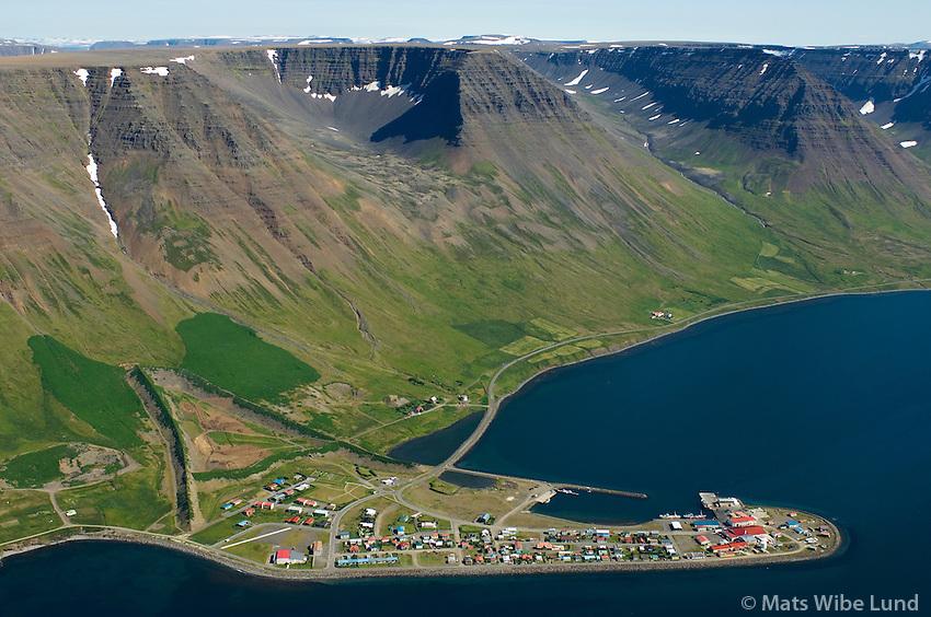 Flateyri með snjófloðarvarnagörðum, séð til norðausturs, Ísafjarðarbær / Flateyri with avalange protectyion walls, viewing northeast, Isafjardarbaer