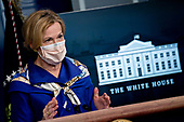 Ambassador Deborah L. Birx, M.D., White House Coronavirus Response Coordinator, wears a protective mask as she speaks during a news conference in the Brady Press Briefing Room of the White House in Washington, D.C., U.S., on Friday, May 22, 2020. United States President Donald J. Trump did not wear a face mask during most of his tour of Ford Motor Co.'s ventilator facility Thursday, defying the automaker's policies and seeking to portray an image of normalcy even as American coronavirus deaths approach 100,000. <br /> Credit: Andrew Harrer / Pool via CNP