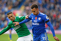 (L-R) Anthony Knockaert of Brighton challenges Josh Murphy of Cardiff City during the Premier League match between Cardiff City and Brighton & Hove Albion at the Cardiff City Stadium, Cardiff, Wales, UK. Saturday 10 November 2018