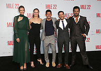WESTWOOD, CA - AUGUST 9: Lauren Cohan, Ronda Rousey, Iko Uwais, Carlo Alban, Sam Medina, at Premiere Of STX Films' &quot;Mile 22&quot; at The Regency Village Theatre in Westwood, California on August 9, 2018.<br /> CAP/MPIFS<br /> &copy;MPIFS/Capital Pictures