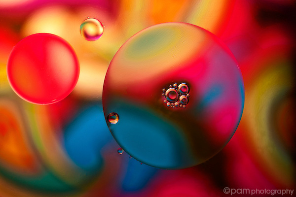 Abstract of oil floating on water