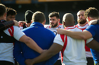 Rob Webber of Bath Rugby speaks to his team-mates in a huddle. Bath Rugby Captain's Run on February 19, 2016 at the Recreation Ground in Bath, England. Photo by: Patrick Khachfe / Onside Images