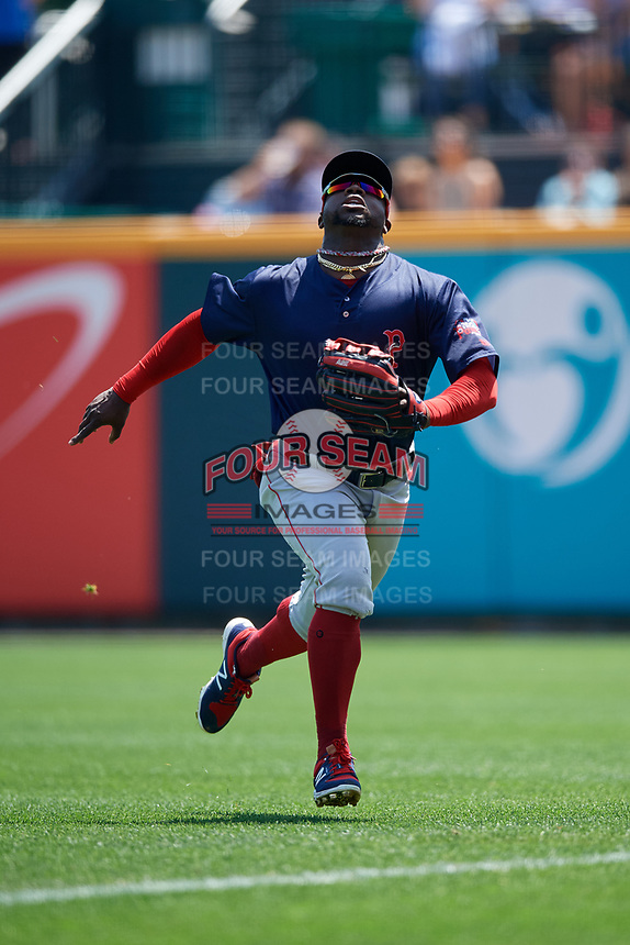 Pawtucket Red Sox right fielder Rusney Castillo (38) tracks a fly ball during a game against the Buffalo Bisons on June 28, 2018 at Coca-Cola Field in Buffalo, New York.  Buffalo defeated Pawtucket 8-1.  (Mike Janes/Four Seam Images)