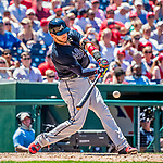 9 July 2017: Atlanta Braves catcher Tyler Flowers in action against the Washington Nationals at Nationals Park in Washington, DC. The Nationals defeated the Braves to split their 4-game series. Mandatory Credit: Ed Wolfstein Photo *** RAW (NEF) Image File Available ***
