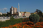 Tirana/Tirane-Albania - August 01, 2004---Skenderberg/Skanderberg Square with the clock tower (built in 1830), Minaret and the Mosque of Ethem Mey (built in 1793), in the center of Tirana, capital city of Albania; culture-religion---Photo: Horst Wagner/eup-images