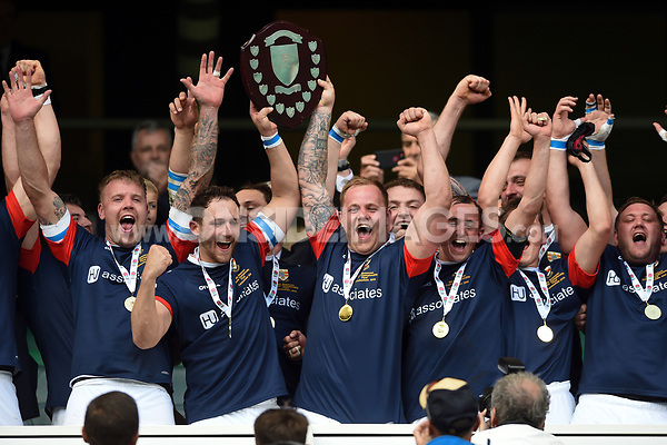 The Cumbria team celebrate victory. Bill Beaumont County Championship Division 3 Final between Cumbria and Dorset & Wilts on June 8, 2019 at Twickenham Stadium in London, England. Photo by: Patrick Khachfe / Onside Images