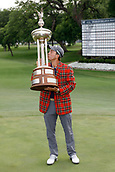 28th May 2017, Fort Worth, Texas, USA; Kevin Kisner kisses the trophy after winning the PGA Dean & Deluca Invitational at Colonial Country Club in Fort Worth, TX.