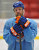Jason Chimera #25 of the New York Islanders listens to coaches during team training camp at Northwell Health Ice Center in East Meadow on Friday, Sept. 15, 2017.