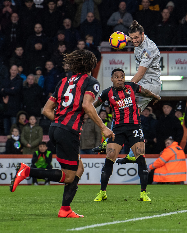 Bournemouth's Nathaniel Clyne (left) battles with West Ham United's Andy Carroll (right) <br /> <br /> Photographer David Horton/CameraSport<br /> <br /> The Premier League - Bournemouth v West Ham United - Saturday 19 January 2019 - Vitality Stadium - Bournemouth<br /> <br /> World Copyright &copy; 2019 CameraSport. All rights reserved. 43 Linden Ave. Countesthorpe. Leicester. England. LE8 5PG - Tel: +44 (0) 116 277 4147 - admin@camerasport.com - www.camerasport.com