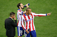 Atletico de Madrid´s Joao Miranda, Juanfran and Diego Pablo Simeone during Champions League soccer match between Atletico de Madrid and Malmo at Vicente Calderon stadium in Madrid, Spain. October 22, 2014. (ALTERPHOTOS/Victor Blanco)