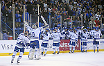 February 20, 2016 - Colorado Springs, Colorado, U.S. -   Air Force goal keeper, Shane Starrett #40, and teammates celebrate the Falcon's winning goal during an NCAA ice hockey game between the Robert Morris University Colonials and the Air Force Academy Falcons at Cadet Ice Arena, United States Air Force Academy, Colorado Springs, Colorado.  Air Force defeats Robert Morris 4-1