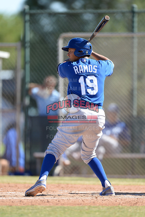 Kansas City Royals third baseman Mauricio Ramos (19) during an instructional league game against the Seattle Mariners on October 2, 2013 at Surprise Stadium Training Complex in Surprise, Arizona.  (Mike Janes/Four Seam Images)