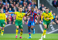 From left: Norwich City Moritz Leitner ; Crystal Palace Wilfried Zaha ; and Norwich City Emiliano Buendia  during the Premier League match between Crystal Palace and Norwich City at Selhurst Park, London, England on 28 September 2019. Photo by Andrew Aleksiejczuk / PRiME Media Images.