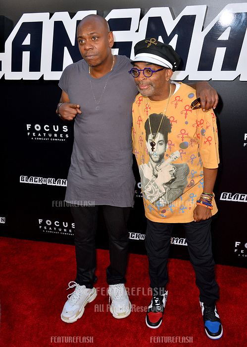 "Spike Lee & Dave Chappelle at the Los Angeles premiere of ""BlacKkKlansman"" at the Academy's Samuel Goldwyn Theatre, Beverly Hills, USA 08 Aug. 2018<br /> Picture: Paul Smith/Featureflash/SilverHub 0208 004 5359 sales@silverhubmedia.com"