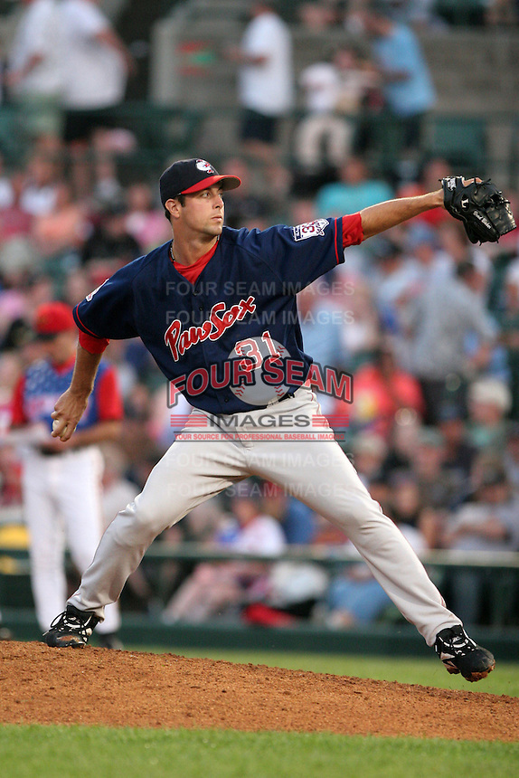 Pawtucket Red Sox Brad Baker during an International League game at Frontier Field on July 4, 2006 in Rochester, New York.  (Mike Janes/Four Seam Images)