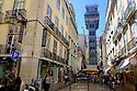Lisbon, Portugal. 27.03.2015. The Santa Justa Lift (Portuguese: Elevador de Santa Justa, also called Carmo Lift (Portuguese: Elevador do Carmo), is an elevator/lift in the civil parish of Santa Justa, in the historical city of Lisbon, situated at the end of Rua de Santa Justa. It connects the lower streets of the Baixa with the higher Largo do Carmo (Carmo Square). Since its construction, the Lift has become a tourist attraction for Lisbon as, among the urban lifts in the city, Santa Justa is the only remaining vertical one., Lisbon, Portugal. © Jane Hobson.