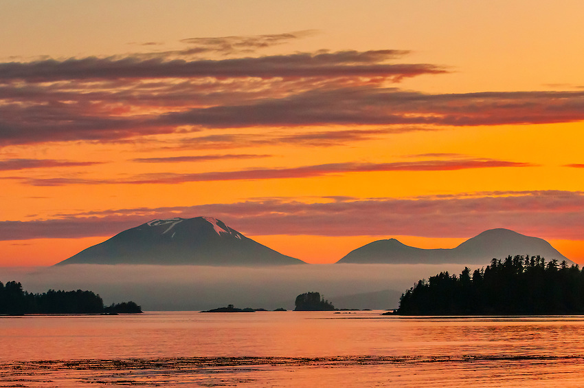 Sitka, Alaska USA (on Baranof Island) with Mt. Edgecumbe (on Kruzof Island) in background.
