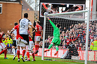 Nottingham Forest's goalkeeper Costel Pantilimon (1) claws out the ball during the Sky Bet Championship match between Nottingham Forest and Derby County at the City Ground, Nottingham, England on 10 March 2018. Photo by Stephen Buckley / PRiME Media Images.