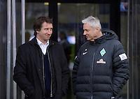 FUSSBALL   1. BUNDESLIGA  SAISON 2012/2013   15. Spieltag TSG 1899 Hoffenheim - SV Werder Bremen    02.12.2012 Teammanager Frank Baumann (li, SV Werder Bremen) und Mediendirektor Tino Polster (SV Werder Bremen)
