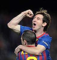 FUSSBALL   CHAMPIONS LEAGUE SAISON 2011/2012   HALBFINALE   RUECKSPIEL        FC Barcelona - FC Chelsea       24.04.2012 Jubel nach dem 1:0: Andres Iniesta (unten) und Lionel Messi (oben, beide Barca)