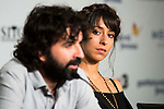 "Spanish director of the film, Mateo Gil and actress Oona Chaplin during the press conference of the presentation of the film ""Proyecto Lazaro"" at the Festival de Cine Fantastico de Sitges in Barcelona. October 07, Spain. 2016. (ALTERPHOTOS/BorjaB.Hojas)"
