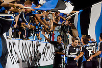 Chris Wondolowski (17) and other Earthquakes players celebrate the tying goal with fans. The San Jose Earthquakes tied DC United 2-2 at Buck Shaw Stadium in Santa Clara, California on July 25, 2009.