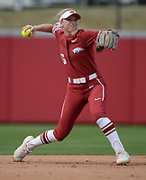 NWA Democrat-Gazette/ANDY SHUPE<br /> Arkansas shortstop Keely Edwards throws to first against Wichita State Wednesday, April 10, 2019, during the first inning at Bogle Park in Fayetteville. Visit nwadg.com/photos to see more photographs from the game.